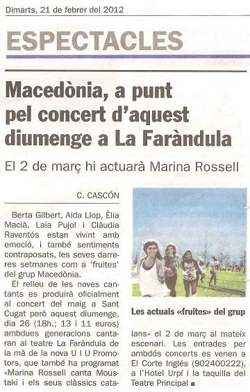Diari de Sabadell: Presentació Macedònia en concert