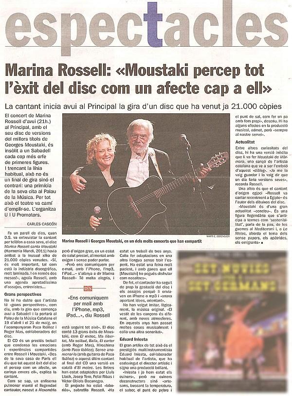 Diari de Sabadell: Tot a punt per el concert de Marina Rosell