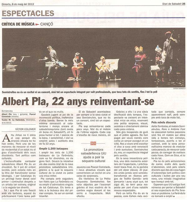 Diari de Sabadell: Crítica concert Albert Pla