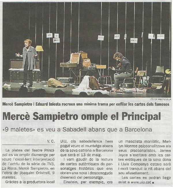 """Diari de Sabadell: Crónica obra de teatre """"9 Maletes"""""""