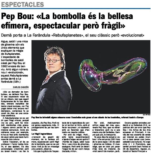 Diari de Sabadell: Entrevista a Pep Bou