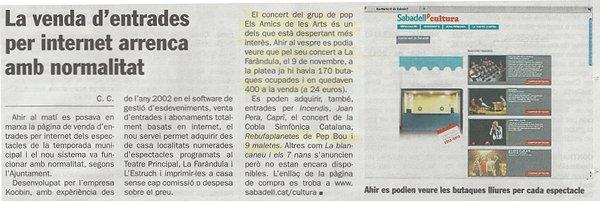 Diari de Sabadell: Nou web municipal de venda d'entrades