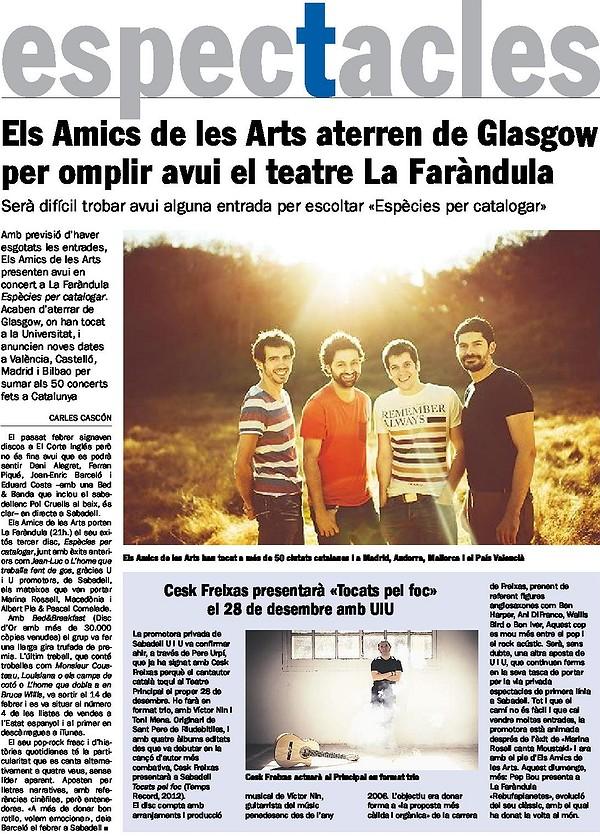 Diari de Sabadell: Prèvia Els amics de les Arts
