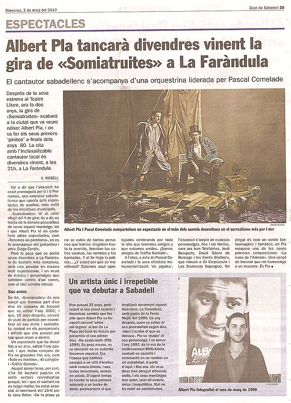 Diari de Sabadell: Albert Pla tanca gira a la Faràndula