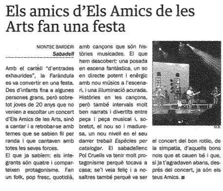 Diari del Vallès: Els Amics de les Arts fan una festa
