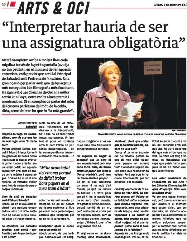 Diari del Vallès: Entrevista a Mercè Sampietro (9 maletes)