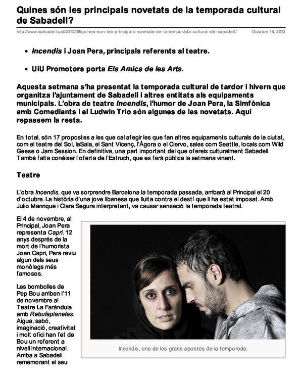 iSabadell.cat: Principals novetats de la temporada cultural de Sabadell