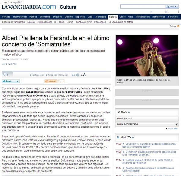 La Vanguardia: Crònica Albert Pla a La Faràndula