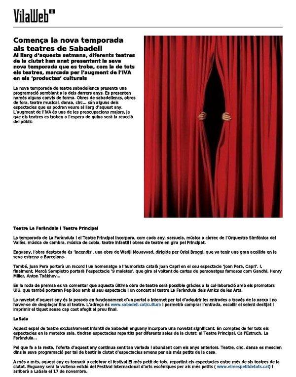 Vilaweb: Comença la nova temporada als teatres de Sabadell