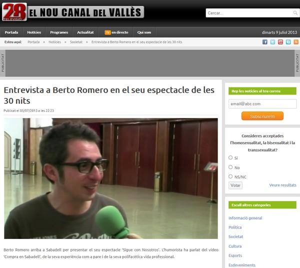 28 Televisió: Entrevista a Berto Romero