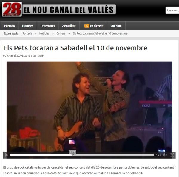 28Televisió:Els Pets tocaran a Sabadell el 10 de novembre