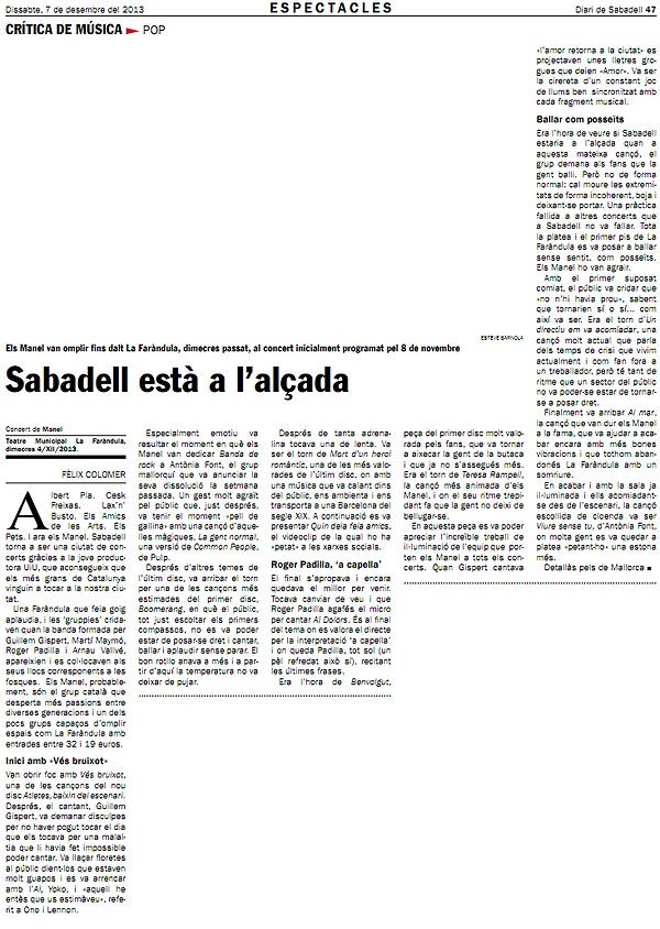 Diari de Sabadell: Crònica del concert de Manel