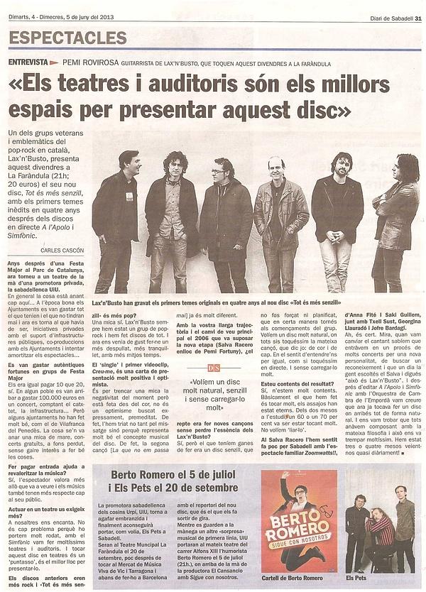 Diari de Sabadell: Entrevista a Pemi Rovirosa de Lax'n'Busto