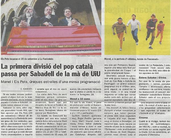 Diari de Sabadell: La primera divisió del pop català passa per Sabadell