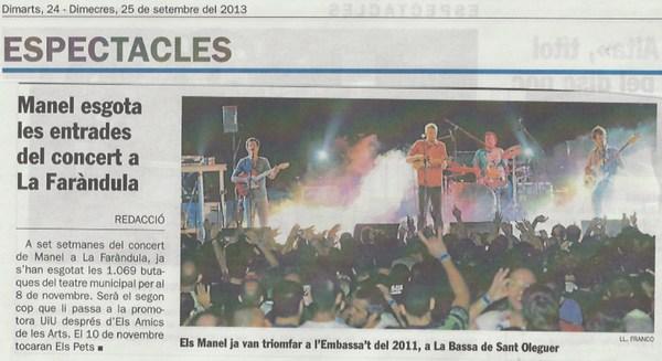 Diari de Sabadell: Manel esgota les entrades del concert a SBD