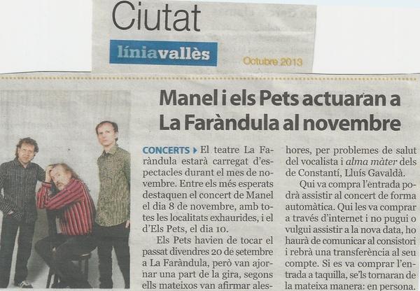 Línia Vallès: Manel i Els Pets actuaran a La Faràndula al novembre