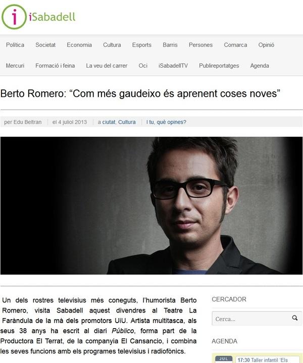 """iSabadell: Berto Romero, """"Com més gaudeixo és aprenent coses noves"""""""