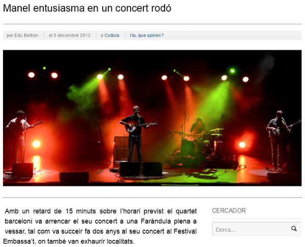 iSabadell: Manel entusiasma en un concert rodó