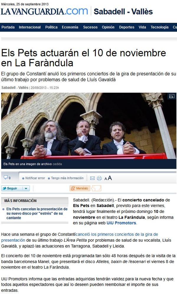 La Vanguardia: Els Pets actuarán el 10 de noviembre en La Faràndula