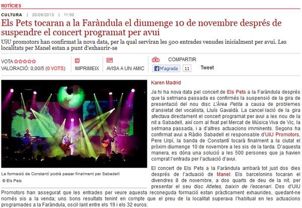 Radio Sabadell: Els Pets tocaran a la Faràndula el 10 de novembre