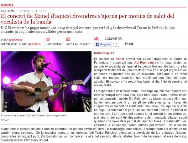 Radio Sabadell: Manel ajorna el seu concert a Sabadell