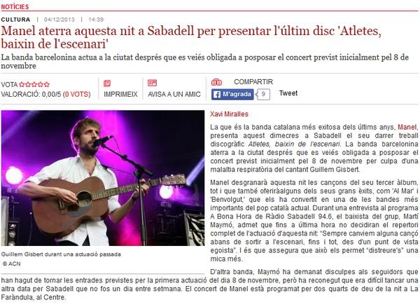 Ràdio Sabadell: Manel aterra aquesta nit a Sabadell