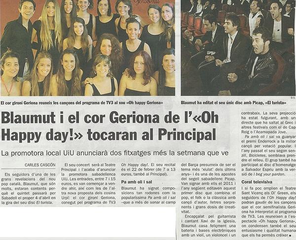 Diari de Sabadell: Blaumut i el cor Geriona tocaran al Principal