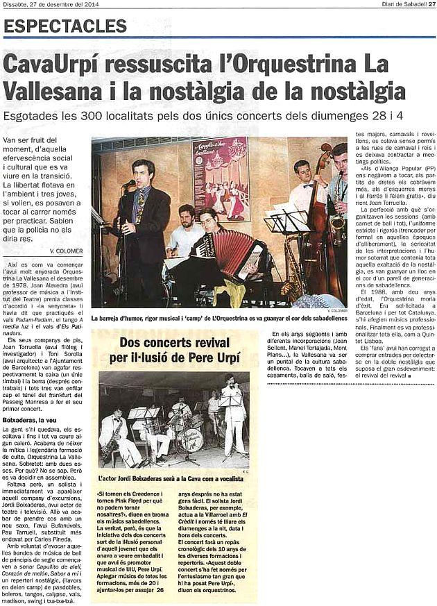 Diari de Sabadell: CAVAURPÍ ressuscita l'Orquestrina La Vallesana