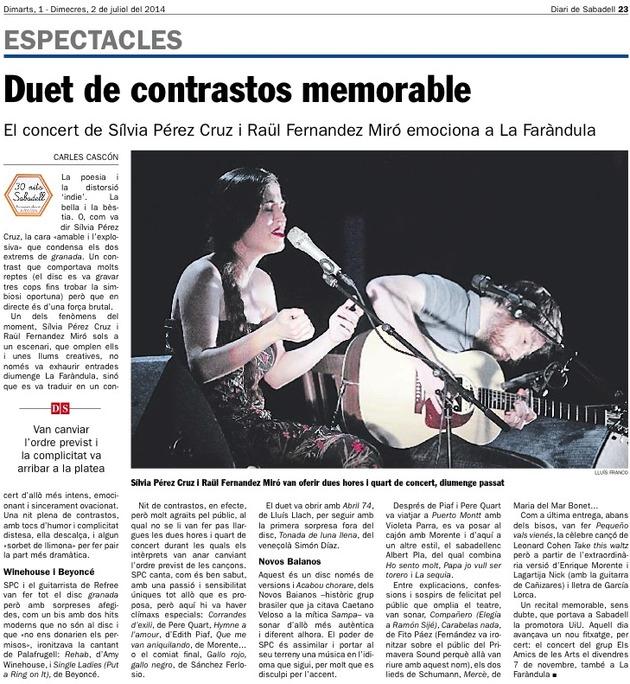 Diari de Sabadell: Crònica concert Silvia Pérez Cruz i Raül Fernandez