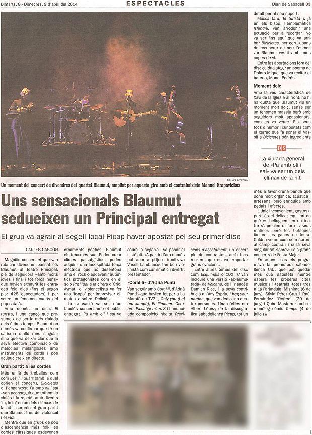Diari de Sabadell: Crònica del concert de Blaumut
