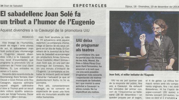 Diari de Sabadell: El sabadellenc Joan Solé fa un tribut a Eugenio