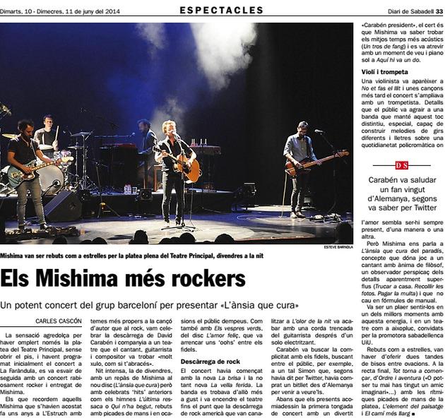 Diari de Sabadell: Els Mishima més rockers