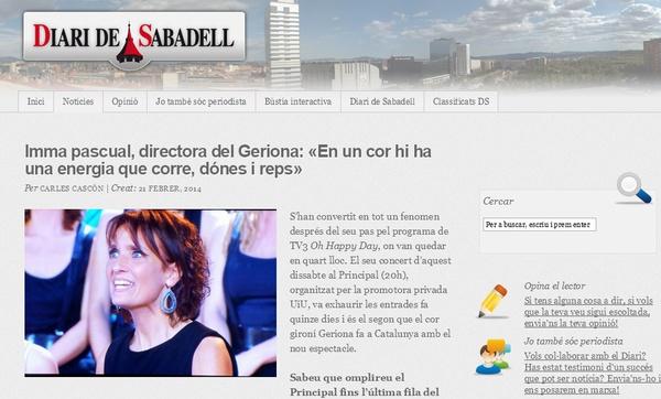 Diari de Sabadell: Entrevista a Imma pascual, directora del Geriona