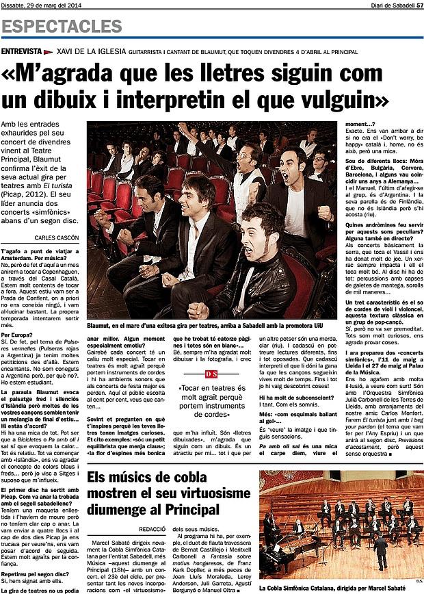 Diari de Sabadell: Entrevista a Xavi de la Iglesia, de Blaumut