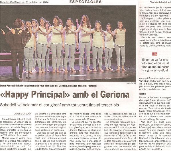"Diari de Sabadell: ""Happy Principal"" amb el Geriona"