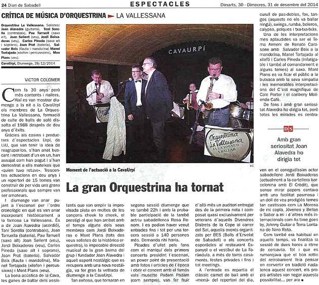 Diari de Sabadell: La gran Orquestrina ha tornat