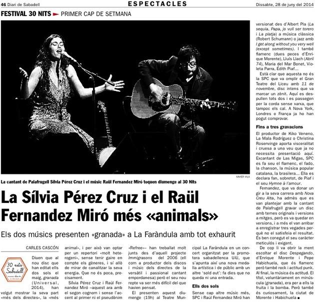 Diari de Sabadell: La Silvia Pérez Cruz i el Raül Fernandez al 30 Nits