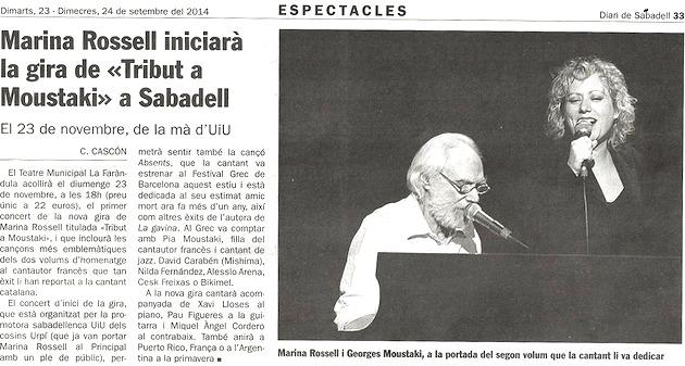Diari de Sabadell: Marina Rossell iniciarà la seva gira a Sabadell