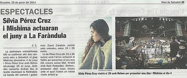 Diari de Sabadell: Sílvia Pérez Cruz i Mishima actuaran el juny a SBD