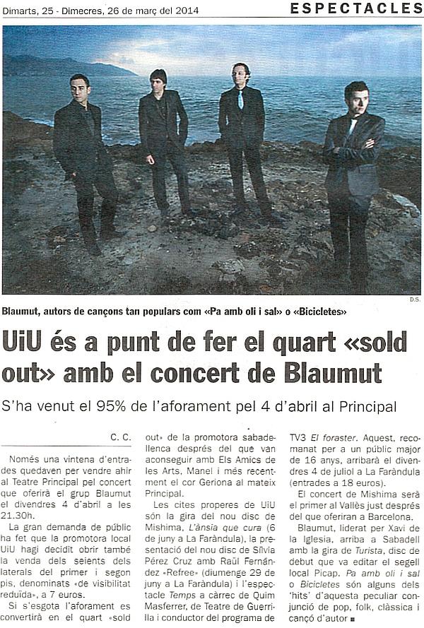"""Diari de Sabadell: UiU a punt de fer el quart """"sold out"""" amb Blaumut"""