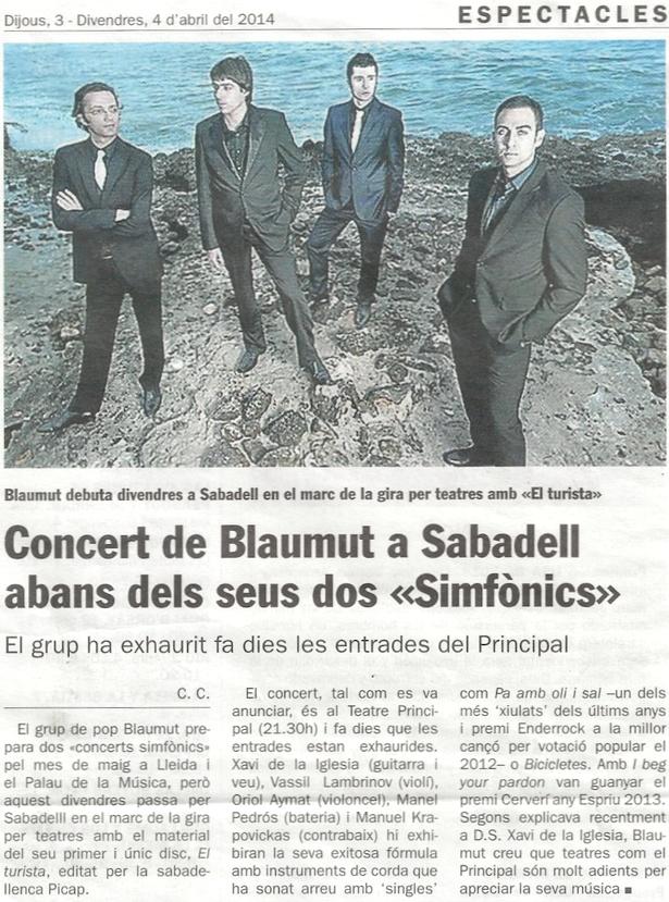 """Diari de Sabadell: Concert de Blaumut a SBD abans dels """"Simfònics"""""""