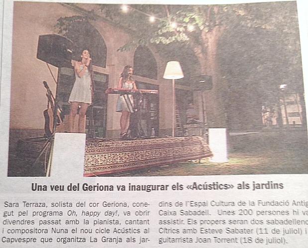 Diari de Sabadell: Una veu del Geriona va inaugurar els Acústics