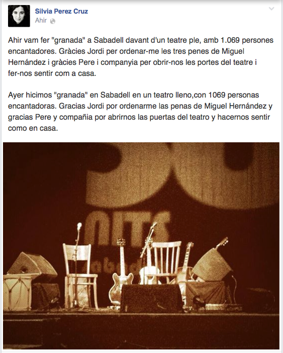Facebook: Agraïment Sílvia Pérez Cruz