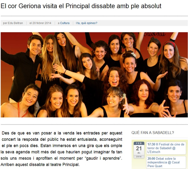 iSabadell: El cor Geriona visita el Principal dissabte amb ple absolut