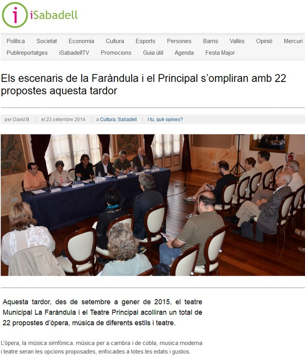 iSabadell: La Faràndula i el Principal s'ompliran amb 22 propostes