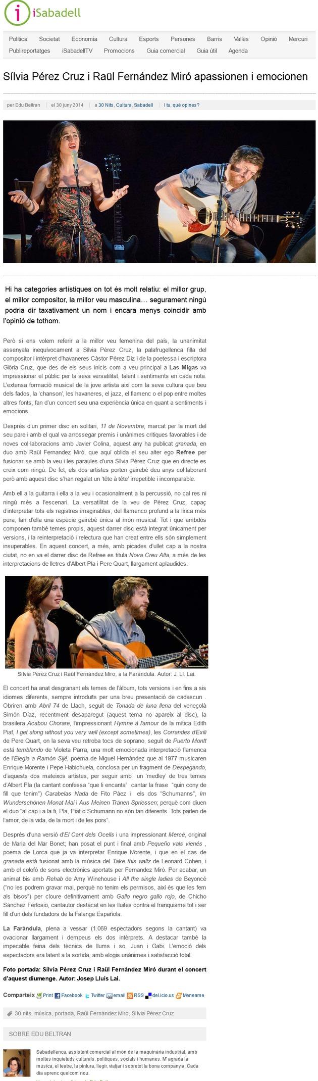 iSabadell: Sílvia Pérez Cruz i Raül Fernandez Miró apassionen