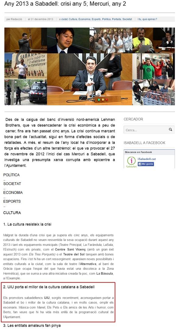 iSabadell: UiU destacat al resum informatiu del 2013