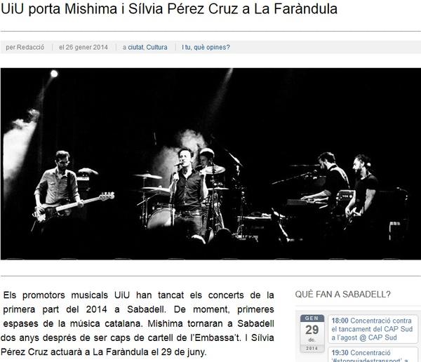 iSabadell: UiU porta Mishima i Sílvia Pérez Cruz a La Faràndula
