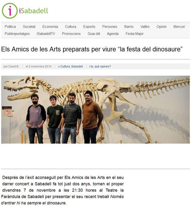 """iSabadell: Els Amics de les Arts preparats per """"la festa del dinosaure"""""""