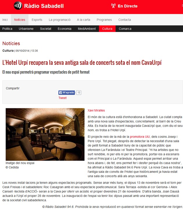 Ràdio Sabadell: L'Hotel Urpí recupera la seva antiga sala de concerts